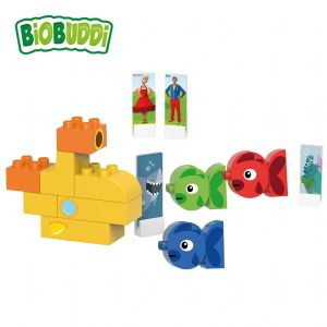 BiOBUDDi - Three fish & Submarine - Eco Friendly Block Set - 28 Blocks